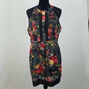 ASTR L dress black floral open back cut out sheer